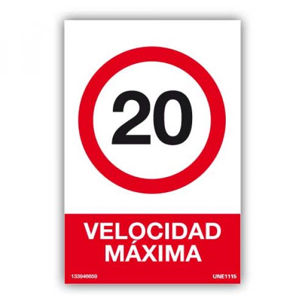 Señal Velocidad Máxima 20 KM