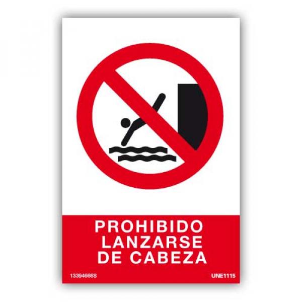 Señal Prohibido Lanzarse de Cabeza