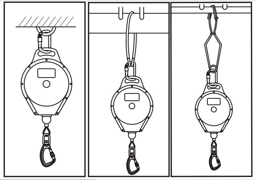 Conexión correcta del equipo anticaídas retractil.