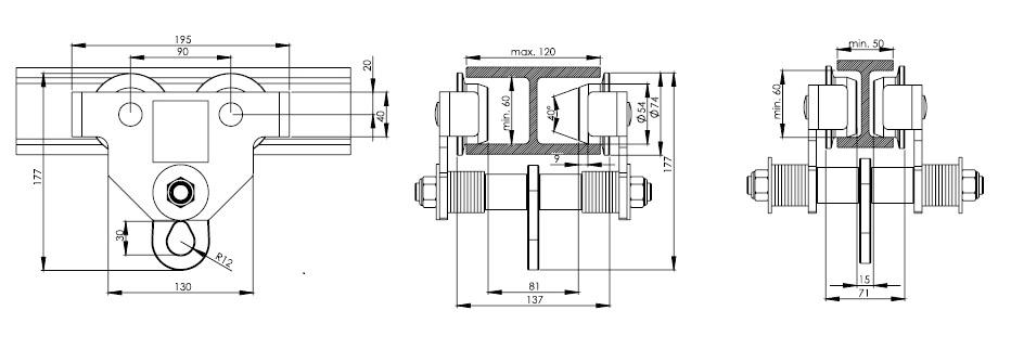 Dimensiones del punto de anclaje con carro móvil.