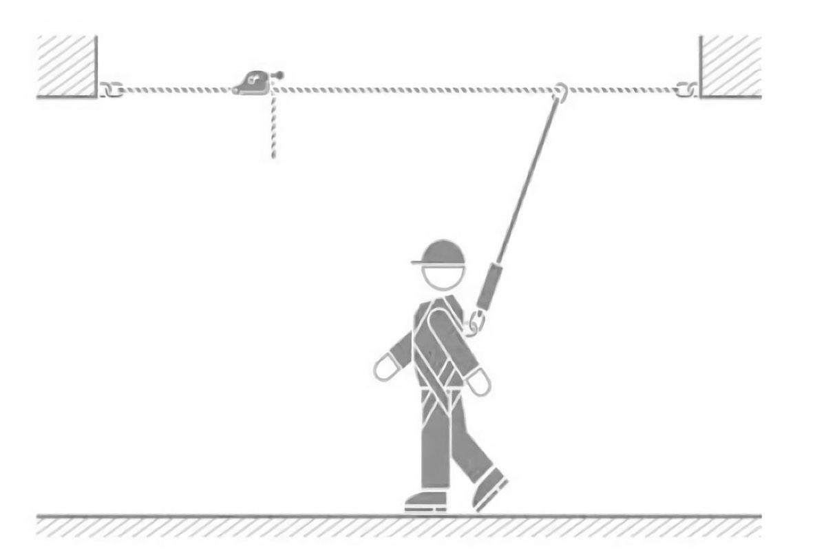detalle de la línea de vida horizontal montada